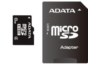 ADATA 8GB MicroSDHC Card with Adaptor Class 4