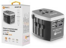 Nabíječka ALIGATOR cestovní USB-C s 3xUSB výst.3.4A, smart IC, černá